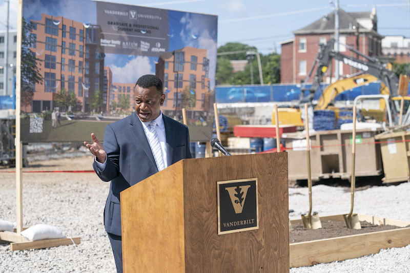 Vice Provost Christie-Mizell speaks during the groundbreaking.