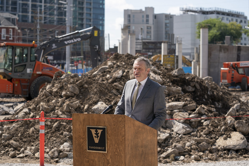 Chancellor Diermeier speaks during the graduate and professional student housing groundbreaking ceremony.