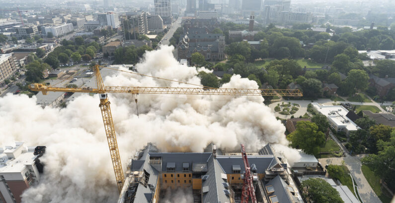 Vanderbilt completes controlled implosion of Carmichael Towers East