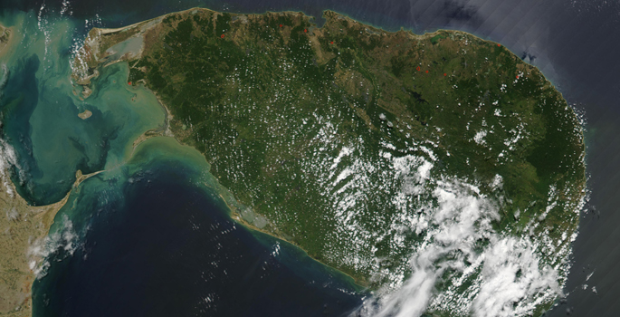 Sri Lanka satellite view