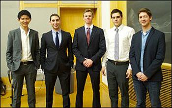 48 Hour Launch winners (l-r) John Zhang, Marc Rosen, Sean Moynahan, Gianfranco Scipioni and Zach Sherman. (Vanderbilt University)