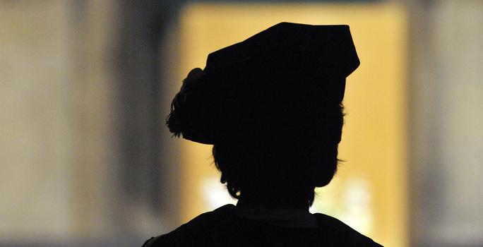 PhD graduate in regalia