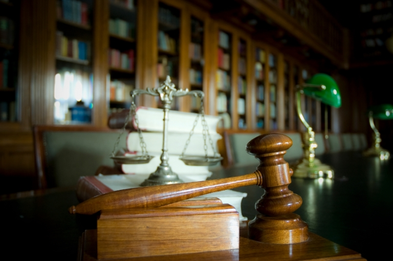 gavel, scales, law books