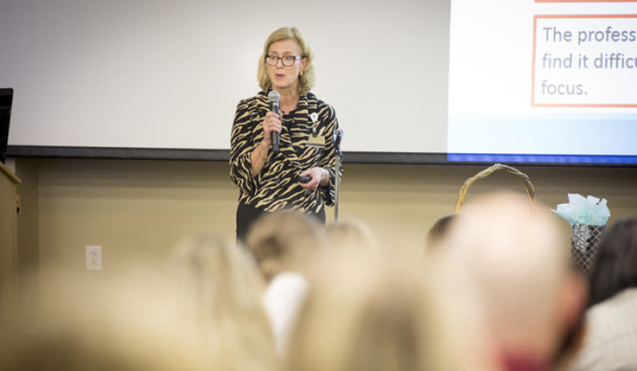 Ruth Kleinpell, Ph.D., R.N., ACNP-BC, was the featured speaker at last week's Advanced Practice Grand Rounds. (photo by Susan Urmy)