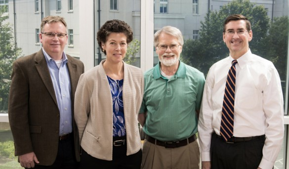 The team investigating RSV's role in the initiation of asthma includes, from left, Emory University's Marty Moore, M.D., VUMC's Tina Hartert, M.D., Emory's Larry Anderson, M.D., and VUMC's Stokes Peebles, M.D. (photo by Jack Kearse)