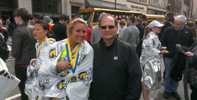 Amanda Hachey and her father, Don, moments after she finished the Boston Marathon on April 15. (photo courtesy of Amanda Hachey)