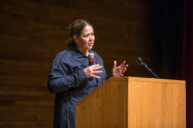 Anna Deavere Smith addressed the 51st annual Impact Symposium at Vanderbilt University on March 16. (Daniel Dubois/Vanderbilt)