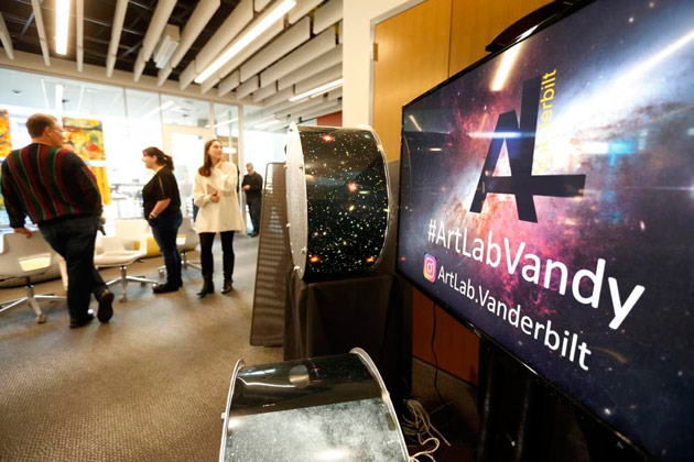 """An ArtLab pop-up exhibition included """"Pinpoints,"""" created by David Weintraub to track stars. (Steve Green/Vanderbilt)"""