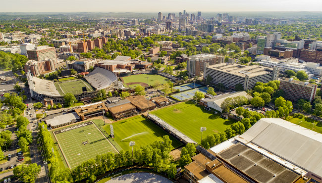Aerial view of Vanderbilt athletic fields (Vanderbilt University)