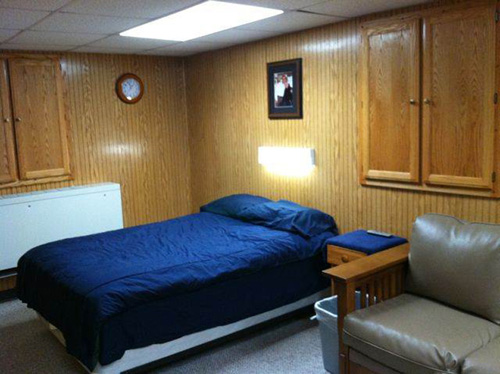 This is an example of the sleeping quarters typically found on a towboat.