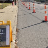 Bike lane pilot program on Jess Neely Drive. (Vanderbilt University)