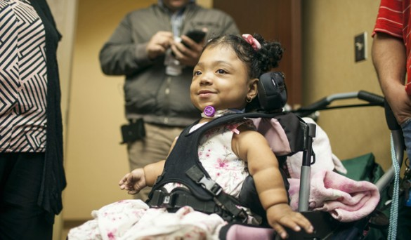 Janelly Martinez-Amador is responding to treatment for a rare genetic disorder that caused her bones to become soft. (photo by Daniel Dubois)