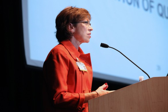 Marilyn Dubree, MSN, R.N., speaks at this week's VUMC Nursing Bylaws Convention. (photo by Susan Urmy)