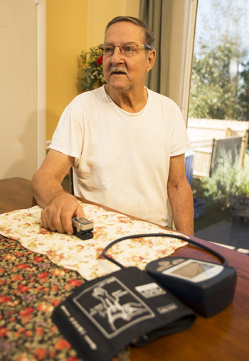 Carroll Duke is one of the congestive heart failure patients who took part in the in-home, remote monitoring pilot project. (photo by Joe Howell)