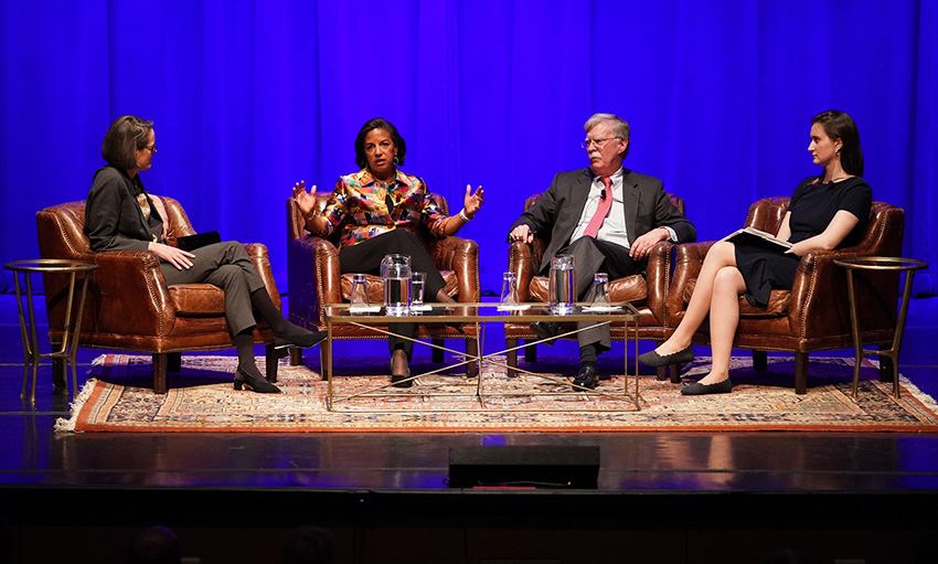 L-r: Ingrid Wuerth, Susan Rice, John Bolton and Hannah Miller (Joe Howell/Vanderbilt)