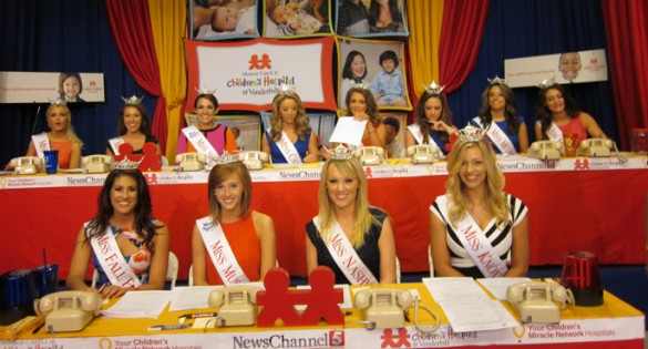 Title holders from Miss Tennessee pageants work the phone bank of the 30th annual Children's Miracle Network Hospitals Telethon.
