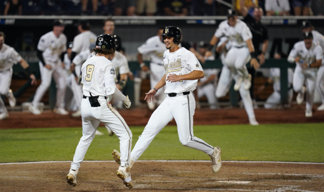 Vanderbilt scratched across two more runs—the final one coming on a wild pitch—to defeat Stanford 6-5 in an elimination game at the College World Series in Omaha on Wednesday, June 23, 2021.