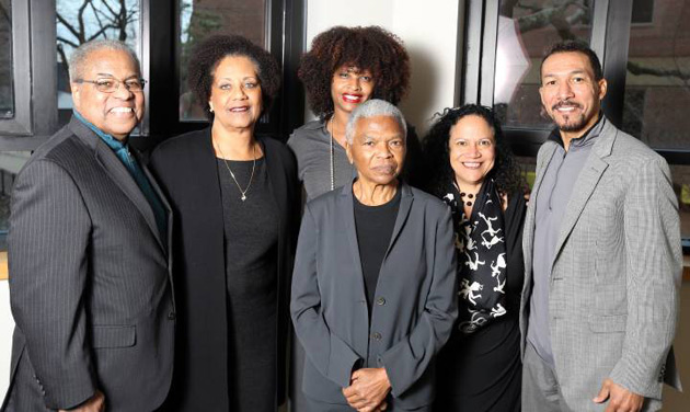 Professors affiliated with African American and Diaspora Studies welcomed lecturer Mary Frances Berry (standing in front). They are (l-r) Houston Baker, Tiffany Patterson, Tracy Sharpley-Whiting, Alice Randall and Gilman Whiting. (Steve Green/Vanderbilt)