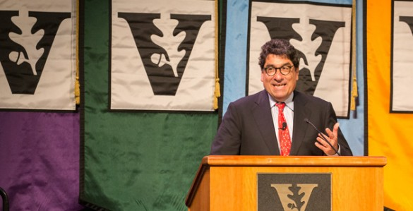 Chancellor Nicholas S. Zeppos addressed faculty at the 2014 Fall Assembly Aug. 21 in the Student Life Center. (Joe Howell/Vanderbilt)