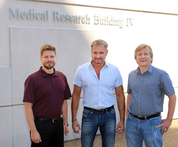 From left, Alex Waterson, Ph.D., Stephen Fesik, Ph.D., and Gary Sulikowski, Ph.D., are co-directors of the Vanderbilt Chemical Biology Consortium Dedicated Center. (photo by Steve Green)