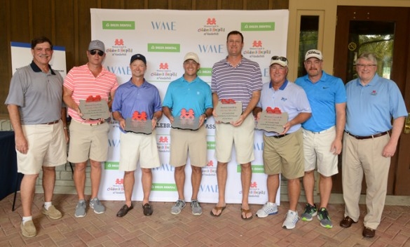 On hand at the first-ever Monroe Carell Jr. Children's Hospital at Vanderbilt Celebrity Golf Classic are, from left, Phil Wenk, DDS, Brent Keally, Jay Hollomon, Brian Waller, Ryan Jacobs, Danny Briggs, Rob Beckham and Luke Gregory