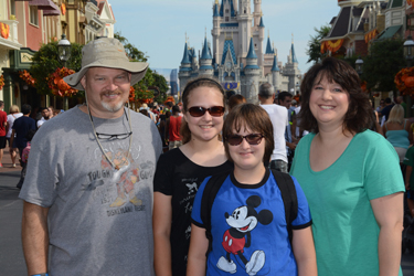 The Wright family — from left, Chris, Natalie, Audrey and Patty — on a trip last year to Disney World.