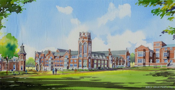 A rendering of College Halls at Vanderbilt-Barnard. (Hastings Architecture Assoc. /David M. Schwarz)