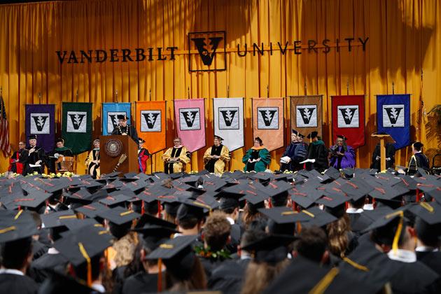 Chancellor Nicholas S. Zeppos presided over Commencement ceremonies May 12 in Memorial Gym. (Vanderbilt University)