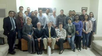 Jeffrey Creasy, M.D., (front row, center) with attendings and residents at Stellenbosch University Medical Center in Tygerberg, South Africa.