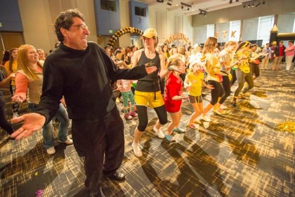 Chancellor Nicholas S. Zeppos (far left) joins Vanderbilt students for Dance Marathon's Big Event 2015. (Daniel Dubois/Vanderbilt)