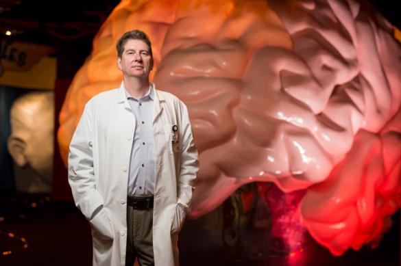 David Sweatt was photographed at the Brain Blast exhibit at Nashville's Adventure Science Center. (Joe Howell/Vanderbilt)