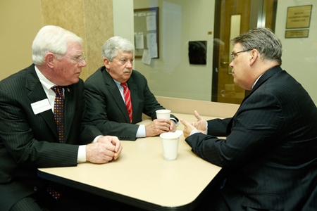 L-r: Rep. Charles Sargent, R-Franklin, and Sen. Randy McNally, R-Oak Ridge, meet with Wright Pinson, deputy vice chancellor for health affairs and CEO of the Vanderbilt Health System, at Day on the Hill Jan. 30. (John Russell/Vanderbilt)