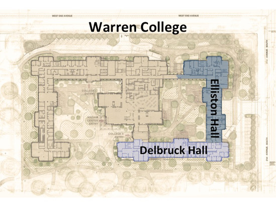 Within Warren College will be Delbrück Hall and Elliston Hall. (Vanderbilt University)