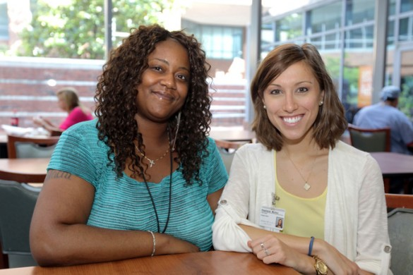 Dietetic intern Stephanie Murico, right, with patient Sonya Simmons. (photo by Steve Green)