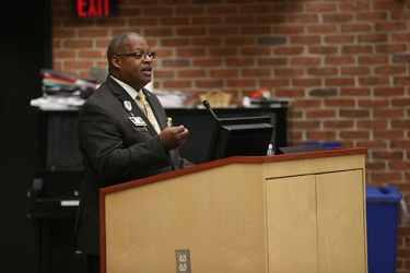 Vanderbilt University Police Department's Maj. Charles DeFrance spoke of his department's commitment to treating others with respect and dignity. (photo by John Russell)
