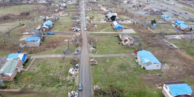 Debris piles and blue roof tarps dominate an area of Mount Juliet affected by the March 2020 tornados. The image was taken on March 11, 2020, a bit more than a week after the storms.