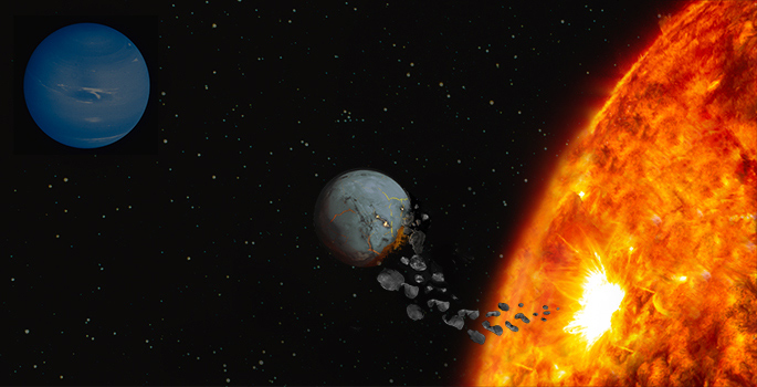 Planet falling into the sun