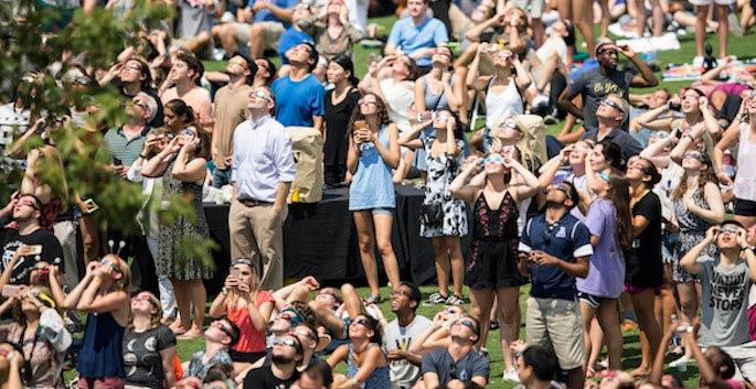 Vanderbilt students, faculty and staff celebrated the total solar eclipse on Aug. 21, 2017. (Vanderbilt University)