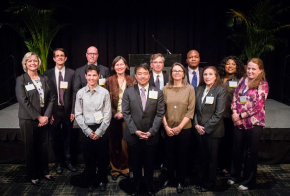 L-r, 1st row: Katherine B. Crawford, Young Jun Kim, Holly J. McCammon, Judy Garber; 2nd row: Provost Susan R. Wente, James R. Booth, Neil David Woodward, Mary Beth Shinn, Robert F. Miller, Moses E. Ochonu, Stacey M. Floyd-Thomas and Clare M. McCabe. (Susan Urmy/Vanderbilt)