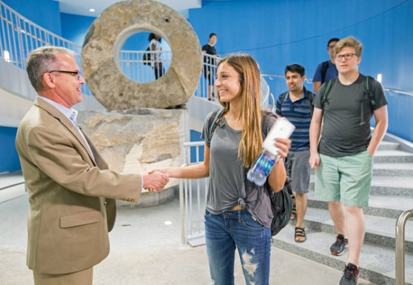 Watch: First day of classes at the Engineering and Science Building