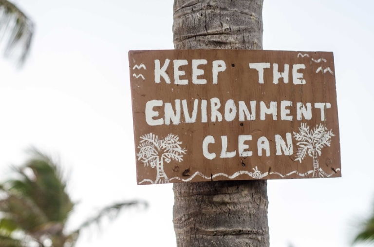 environmental conservation sign and coconut trees
