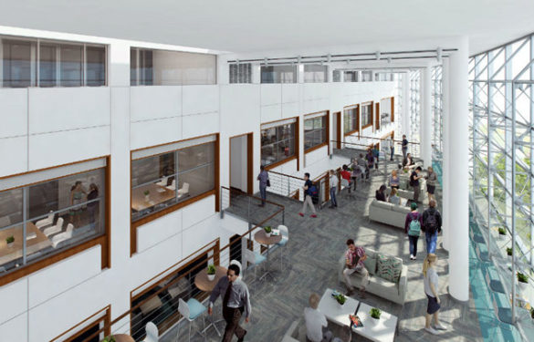 The fourth-floor atrium of the Eskind Biomedical Library renovation. (Rendering by Hasting Architectural Associates)