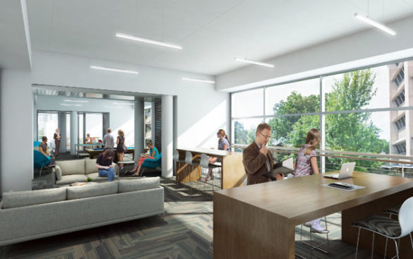 The second-floor student lounge of the Eskind Biomedical Library renovation. (Rendering by Hastings Architectural Associates)