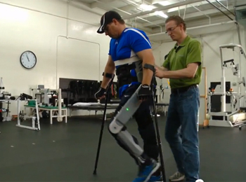 Wearable robot helps man walk again