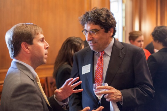 Chancellor Nicholas S. Zeppos (right) met with Rep. Chuck Fleischmann (R-TN) and other members of Tennessee's congressional delegation at a Vanderbilt-hosted reception June 12 at the U.S. Capitol. (Daniel Dubois/Vanderbilt)