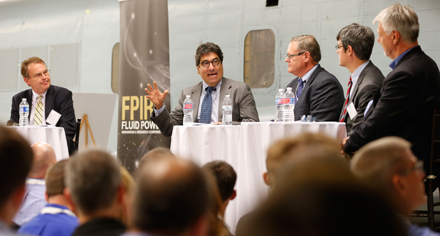 School of Engineering Dean Philippe Fachet, Chancellor Nicholas S. Zeppos and others participated in a panel discussion at the Fluid Power Innovation and Research Conference held at LASIR Oct. 14.
