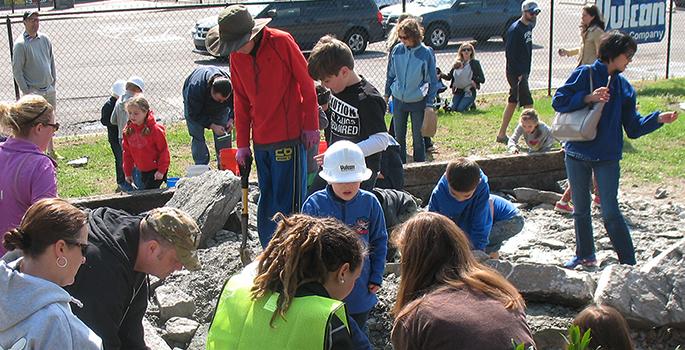 kids excavating