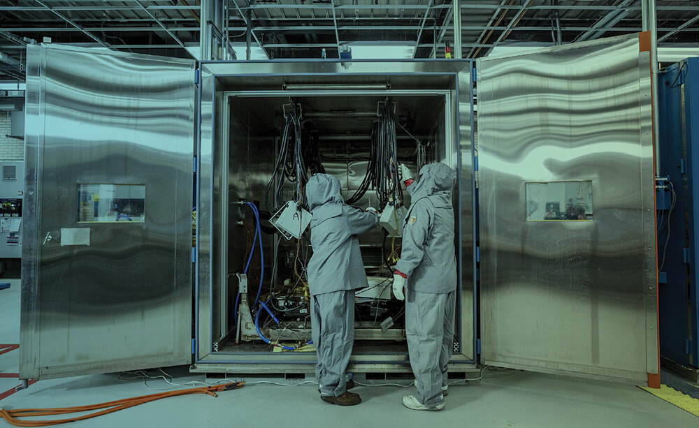 Battery testing at the General Motors Estes Engineering Center battery lab in Warren, Michigan