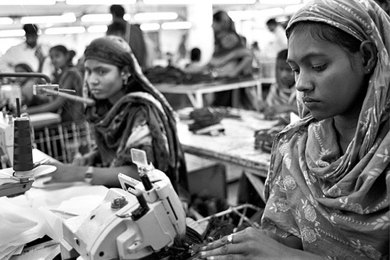 Workers at a ready-made-garment factory in Bangladesh. (image courtesy of Institute for Global Labour and Human Rights)