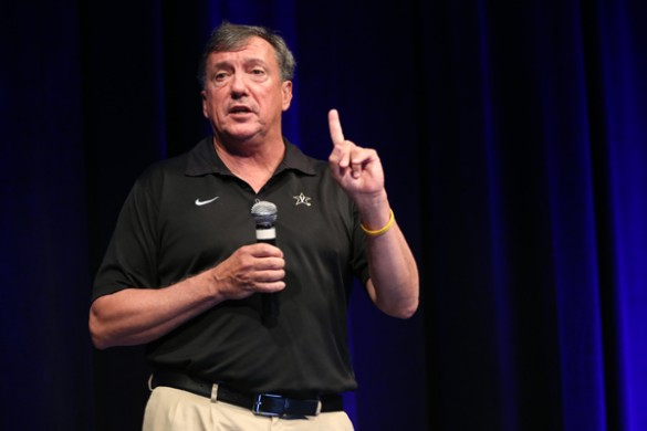 Geoff MacDonald, head coach of Vanderbilt's women's tennis team, winners of the 2015 NCAA Championship, at the Student Life Center July 21. (John Russell/Vanderbilt)